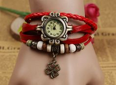 Four-leaf Clover Pendant Genuine Leather Quartz Watch