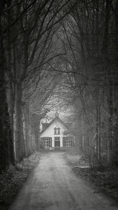 this is the witch& house in hansel and gretel. Spooky Places, Haunted Places, Abandoned Places, Dark Gothic, Gothic Art, Creepy, Black Metal, Black And White, Gothic Aesthetic
