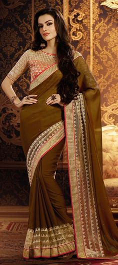 Ethereal Brown Designer Chiffon saree with Net Border. 163528 Beige and Brown color family Embroidered Sarees, Party Wear Sarees in Faux Chiffon, Net fabric with Lace, Machine Embroidery, Stone work with matching unstitched blouse. Chiffon Saree, Party Wear Sarees, Saree Blouse, Latest Fashion Trends, Indian Fashion, Fashion Outfits, Lace, Stone Work, How To Wear