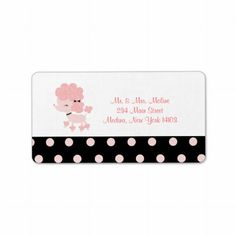 French Paris Poodle Return Label - Black/Pink #paris #poodle