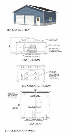 2 Car Workshop Garage Plan 960-L With High Walls For Lift
