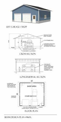 Download free 18 x 22 garage plans for Lift garage plans