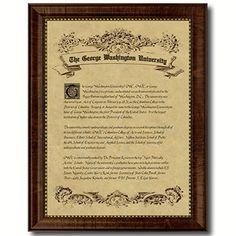 George Washington University Diploma Frame Satin Black