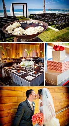 San Diego beach wedding Scripps Seaside Forum Botanica florals and modern wedding cake
