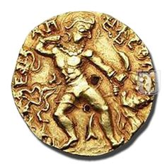 DINAR | Coins of  Gupta Dynasty | Ruler / Authority : Kumaragupta - I (Mahendraditya) | Denomination : Dinar | Metal : Gold | Weight (gm) : 7 - 8 | Size (mm) : 19-22 | Shape : Round | Types/Series : Lion-slayer type | Minting Technique : Die struck |
