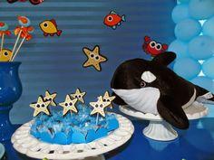 Eu adoro este tema, festa fundo do Mar... tão relaxante... Essa foi uma festa super simples, mas com um charme ...eu adorei... decorado por...