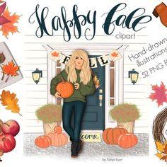 Autumn Breeze Fall Clipart Pumpkin Queen Fall Leaves | Etsy
