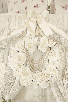 a creamy white rose wreath