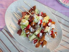 Get Fried Chicken Salad on a Stick Recipe from Trisha Yearwood Food Network Fried Chicken Salads, Chicken Bites, Chicken Recipes, Fried Chicken On A Stick Recipe, Roasted Chicken, Kitchen Recipes, Cooking Recipes, Game Recipes, Trisha's Southern Kitchen