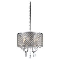 "Warehouse of Tiffany 4 Light Round Crystal Chandelier 12""H (plus chain) x 18""W - 198.99"