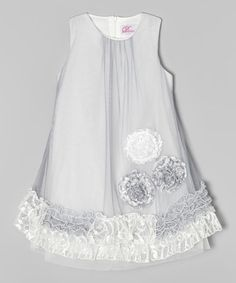 Love this White & Gray Lace Ruffle A-Line Dress - Toddler & Girls on #zulily! #zulilyfinds