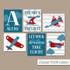 AIRPLANES Wall Art, CANVAS or Prints, Baby Boy Nursery PLANES Artwork, Helicopter Sky, Blue Red Air Travel, Personalized Boy Name Set of 6