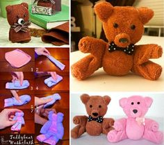 Learn how to make a washcloth teddy bear with this quick video tutorial. It makes the perfect baby shower gift and couldn't be easier. Baby Shower Crafts, Baby Crafts, Towel Origami, Diy Teddy Bear, Recycle Old Clothes, Towel Animals, How To Fold Towels, Baby Washcloth, Towel Crafts
