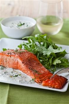 Barefoot Contessa - Recipes - Hot Smoked Salmon with fresh dill sauce. Looks so good!