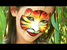 Tiger face painting mask tutorial - Tigress makeup made with just one split cake! - YouTube