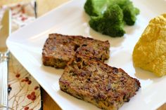 Homemade meatloaf made from French Country Pate, served with mashed cauliflower - http://thoughtfulcooking.com/french-country-pate-meatloaf/