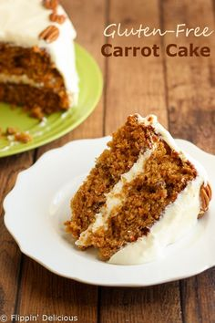 Gluten-Free Carrot Cake with Whipped Cream Cheese Buttercream Frosting. You can add pecans, coconut, raisins, or none of the above to make it just how you like it. #glutenfree