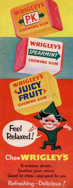 """chose the chewing gum because """"scout"""" jean louise loved it. Also scout and Jem found some in the tree.I chose the chewing gum because """"scout"""" jean louise loved it. Also scout and Jem found some in the tree. Pub Vintage, Vintage Signs, Vintage Posters, Vintage Prints, Vintage Food, Retro Food, Vintage Ladies, Vintage Sweets, Retro Sweets"""