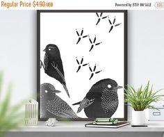 Birds Art Print Woodland Poster Abstract Poster Birds Printable Art Grey Home Decor Nursry Decor Housewares Animal  Poster 8x10 16x20