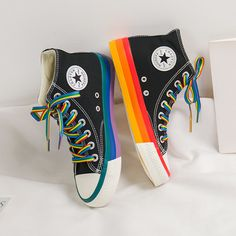 Moda Sneakers, Sneakers Mode, Sneakers For Sale, Sneakers Fashion, High Top Sneakers, Cute Shoes, Me Too Shoes, Rainbow Sneakers, Rainbow Converse