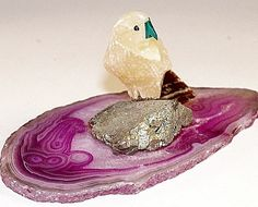 Macaw soapstone figurine on Purple banded agate slice with Pyrite perch New