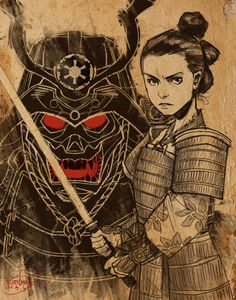 Giving Rey and DV some feudal Japan treatment for Star Wars Day. Happy May 4th! And if you're bored, do some image searching of Darth Vader as a samurai - there's some awesome stuff out there!
