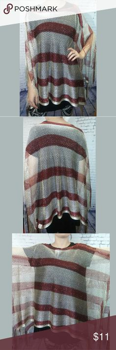 Poncho Cream and wine stripe poncho Metallic thread laced throughout Side fringe One size  Fu357 Sweaters Shrugs & Ponchos