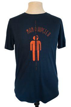 Half Man Half Hipster t-shirt, dark blue with orange print, eco friendly, fair wear, by Poor Edward