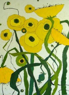 Yellow Poppy Field - 48x36 - oil & graphite on canvas