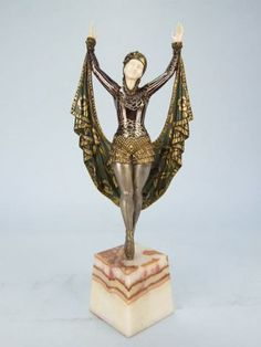 ❤ -  Violet by Molins   Bronze and Ivory (chryselaphantine) study of a dancer.