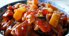 Opskrift kinesisk sursød sauce, sur sød sovs, sweet and sour, med svinekød