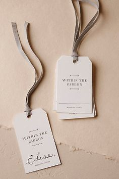 Ribboned Chair Tags from BHLDN Weddings instead of place cards? Collateral Design, Stationery Design, Branding Design, Swing Tag Design, Label Design, Print Design, Graphic Design, Price Tag Design, Custom Hang Tags