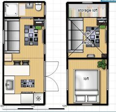 8x20 ISBU Tiny House Render - floorplan (shipping container home)  -  To connect with us, and our community of people from Australia and around the world, learning how to live large in small places, visit us at www.Facebook.com/TinyHousesAustralia