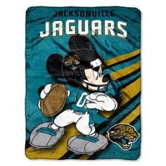NFL Jacksonville Jaguars Mickey Mouse Ultra Plush Micro Super Soft Raschel Throw Blanket