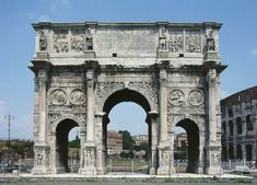 "ARCH OF CONSTANTINE: This huge triumphal arch (21 meters high), with 3 passageways, was erected to commemorate Constantine's victory over Maxentius in 312. It incorporates recycled sculpture from earlier monuments, in part as some suggest, because creativity and technical skill had fallen off by this time period, but perhaps also because of a desire to associate Constantine with the ""good emperors"" Trajan, Hadrian, and Marcus Aurelius, whose monuments were cannibalized for sculpture."