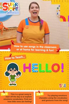 """Caitie demonstrates the gestures and shares some activity ideas for our song """"Hello!"""" Fun Learning, Teaching Kids, Teaching Emotions, English Language Learners, Greatest Songs, Kids Songs, English Lessons, Toddler Preschool, Little Ones"""