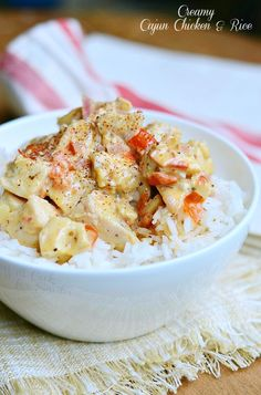 Creamy cajun chicken with rice!