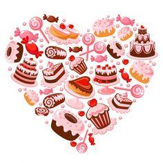 Candy heart vector image on VectorStock Logo Doce, Bake Sale Packaging, Baking Wallpaper, Homemade Funnel Cake, Candy Logo, Cupcake Logo, Bakery Business Cards, Cake Logo Design, Cake Quotes