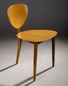 Max Bill; 3-Legged Wooden Chair for AG Mobbelfabrik, 1952.: