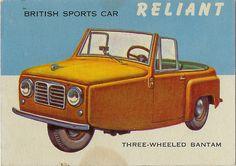 Reliant- Three wheeled Bantam BRITISH SPORTS CAR illustration