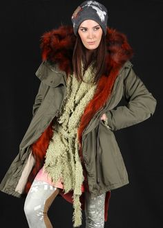 Military Parka Fur oliv-orange: HISTORY REPEATS by Femme, Italy