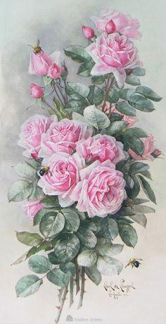Paul de Longpre Light pink roses with bee Vintage Flowers, Vintage Floral, Floral Flowers, Vintage Prints, Vintage Art, Watercolor Flowers, Watercolor Art, Decoupage Vintage, Rose Art