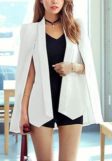 Closer look of white cape blazer