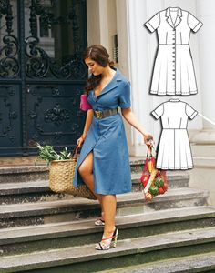 Dressed to Impress: 6 Plus Size Women's Sewing Patterns High Street Fashion, Burda Sewing Patterns, Dress Patterns, Make Your Own Clothes, Diy Clothes, Shirt Dress Pattern, Plus Size Sewing, Iranian Women Fashion, Denim Shirt Dress