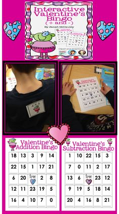 Valentine's Day Bingo (Addition and Subtraction to 23).  $