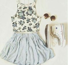 Baby blue and grey, white outfit