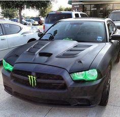 custom monster Dodge Charger :) pretty neat, and look at those ventss,, ;) take off the monster logo & I would like it! Rust in my monster can not supporting them ever Monster Energy, Dodge Muscle Cars, Sweet Cars, Hot Rides, Amazing Cars, Car Car, Hot Cars, Custom Cars, Cars And Motorcycles