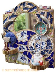 China dishes and ornaments in Pique Assiette mosaic by Helen Bushell from summerhouseart.com