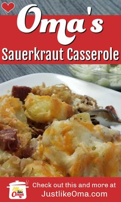 Heres a German sauerkraut casserole that uses up leftovers and makes them into a marvellous dinner thats quick and easy. Or, you could always just make salad! Pork Recipes, Gourmet Recipes, Dinner Recipes, Cooking Recipes, Healthy Recipes, Easy Cooking, Recipies, German Food Recipes, German Recipes Dinner