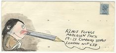 During his 30-year career as a children's book publisher, Klaus Flugge received almost 100 beautifully illustrated envelopes by artists including Posy Simmonds, Tony Ross and Axel Scheffler